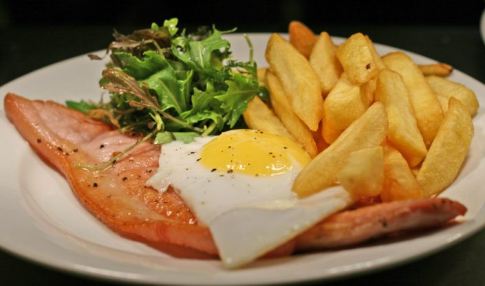 Local carved gammon ham egg and chips at Ye Olde Two Brewers, Shaftesbury.