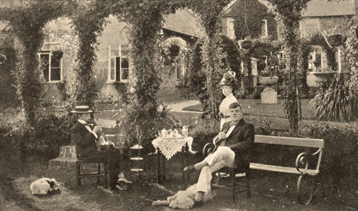 Landlord Seymour Usher in Ye Olde Two Brewers garden c. 1900