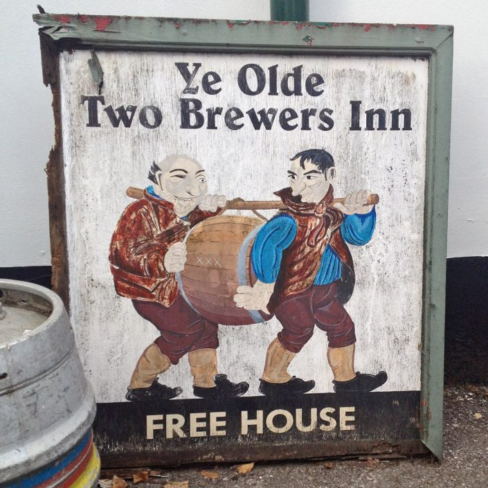 Ye Olde Two Brewers old sign replaced August 2013