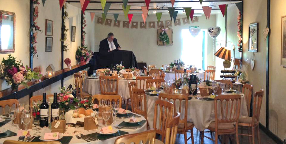 Wedding Reception in the skittle alley at Ye Olde Two Brewers, Shaftesbury, Dorset.