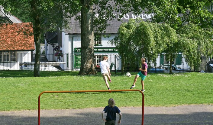 Football in St James Park opposite Ye Olde Two Brewers 18/6/14