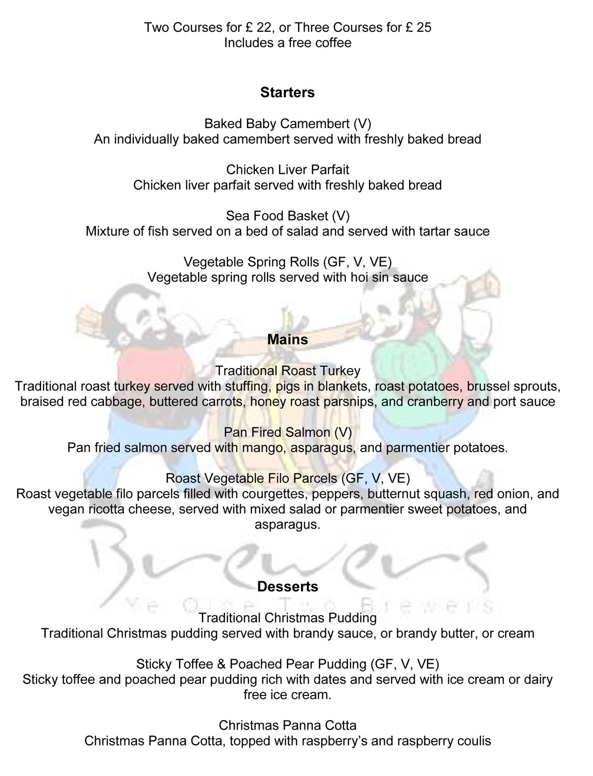 Two Brewers Christmas Menu 2020